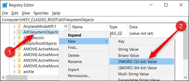 Cliquez avec le bouton droit sur la clé et choisissez Nouveau> Valeur DWORD (32 bits).  Nommez le DWORD DefaultDropBehavior.» width=»650″ height=»278″ onload=»pagespeed.lazyLoadImages.loadIfVisibleAndMaybeBeacon(this);» onerror=»this.onerror=null;pagespeed.lazyLoadImages.loadIfVisibleAndMaybeBeacon(this);»/></p> <p>Maintenant, double-cliquez sur la nouvelle valeur DefaultDropEffect, définissez la case «Données de la valeur» sur «1», puis cliquez sur «OK» pour fermer la fenêtre.</p> <p><img loading=