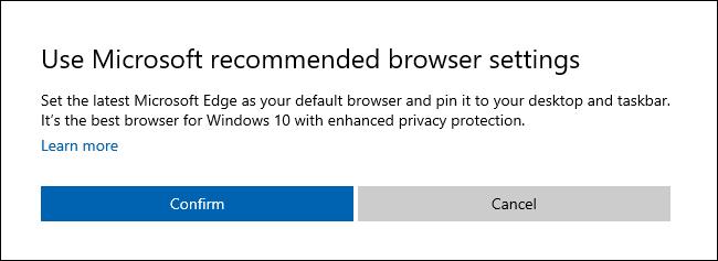 """le """"Utiliser les paramètres de navigateur recommandés par Microsoft"""" boîte de dialogue sous Windows 10."""