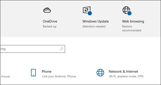 """Windows 10 disant que vous devriez """"Restauration recommandée"""" paramètres de navigation Web."""