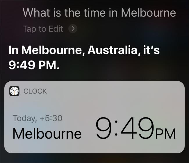 Siri répond avec l'heure à Melbourne, Australie.
