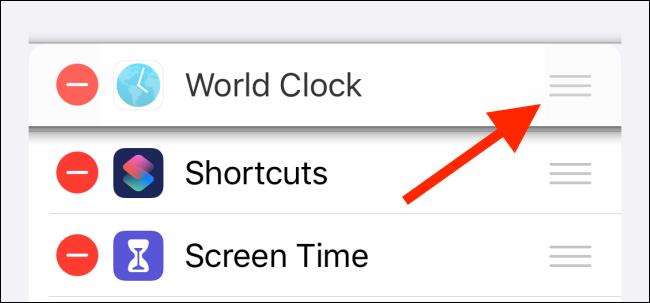 Utilisez la barre de poignée pour réorganiser les widgets.