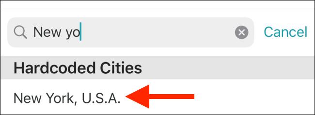 Appuyez sur la ville pour l'ajouter à la liste.