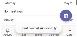 L'événement Team Mobile a bien été créé