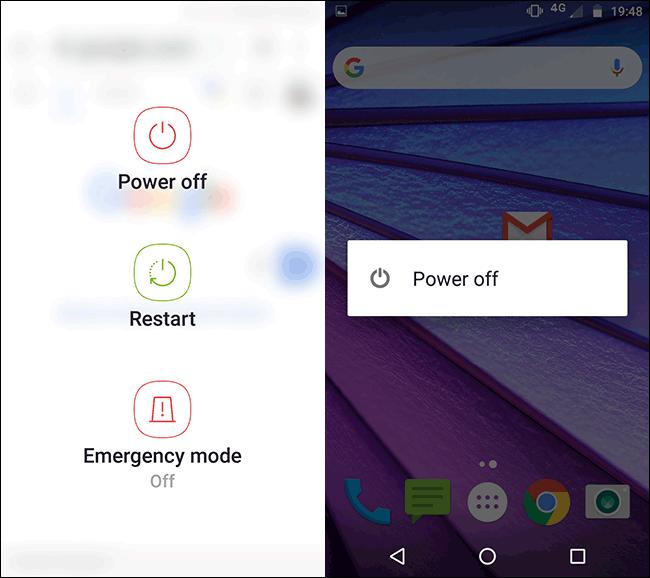 Le menu d'alimentation sur un téléphone Samsung Motorola Android.