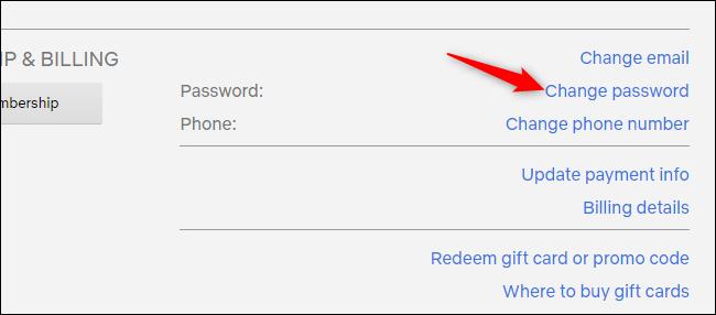 Modification du mot de passe d'un compte Netflix à partir de la page des paramètres du compte.