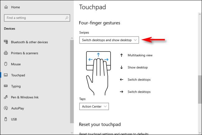 Gestes du pavé tactile à quatre doigts dans Windows 10 qui basculent entre les bureaux virtuels
