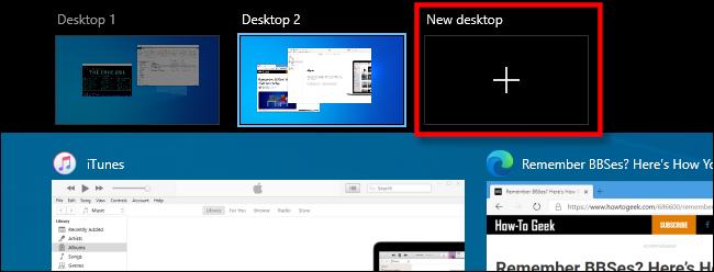 """Sélectionner """"Nouveau bureau"""" dans la vue des tâches sur Windows 10."""