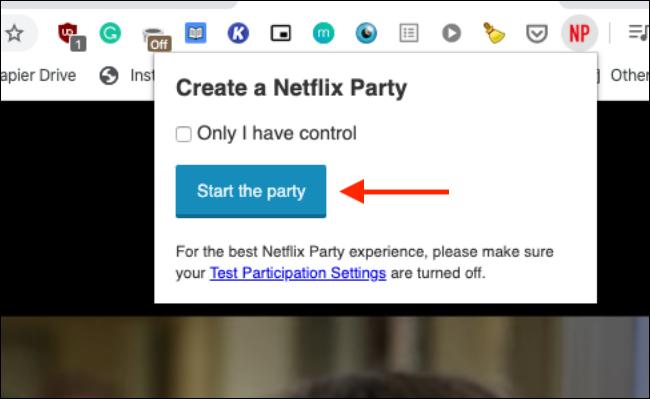 """Cliquez sur """"Commence la fête."""""""