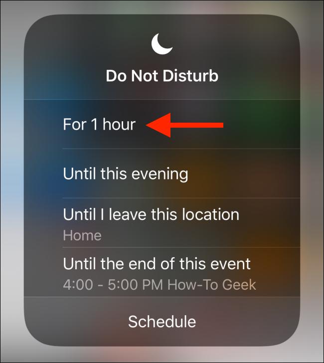 Choisissez le timing Ne pas déranger dans la fenêtre contextuelle