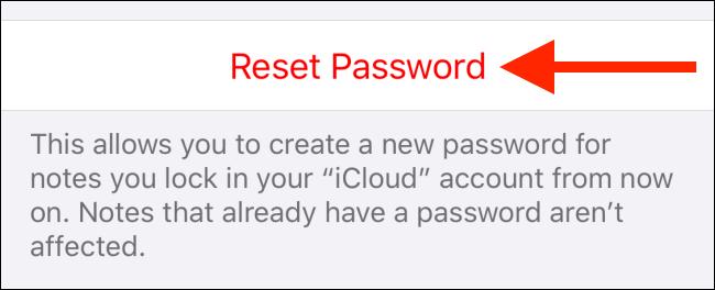 Appuyez sur Réinitialiser le mot de passe