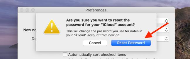 Dans la fenêtre contextuelle, cliquez sur Réinitialiser le mot de passe