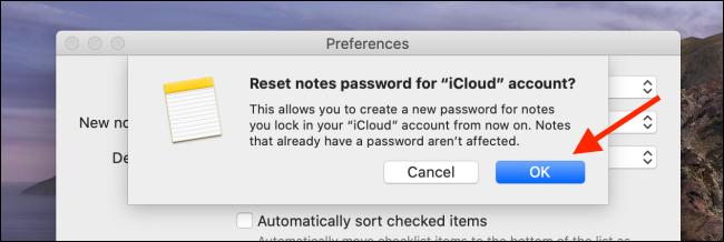 Cliquez sur OK dans l'option Réinitialiser le mot de passe sur Mac