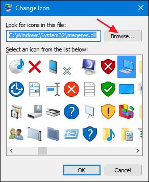 cliquez sur une icône intégrée ou cliquez sur le bouton Parcourir