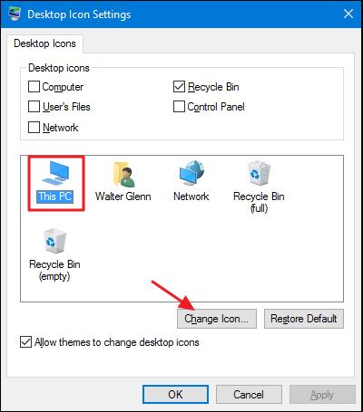 choisissez une icône et cliquez sur le bouton de modification de l'icône