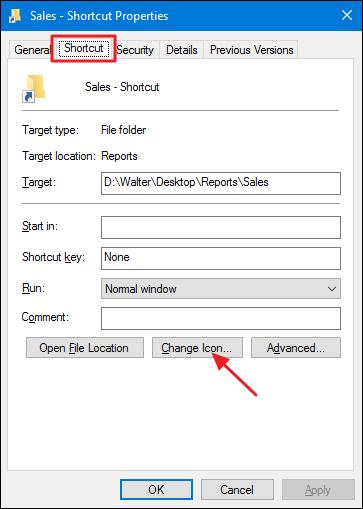 cliquez sur le bouton d'icône de changement dans l'onglet de raccourci