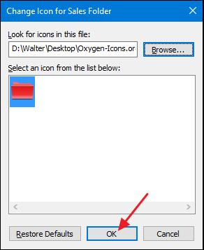 choisissez une icône et cliquez sur OK