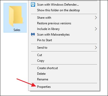 sélectionner les propriétés dans le menu contextuel d'un dossier