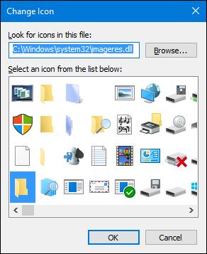 choisissez l'icône ou cliquez sur parcourir