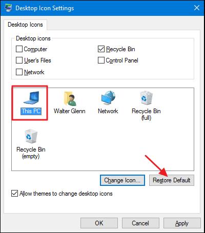 restauration des icônes du bureau par défaut