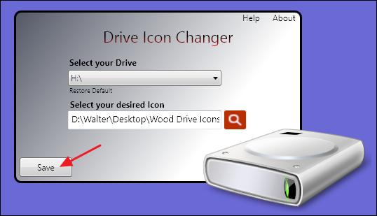 fenêtre de changeur d'icônes de lecteur