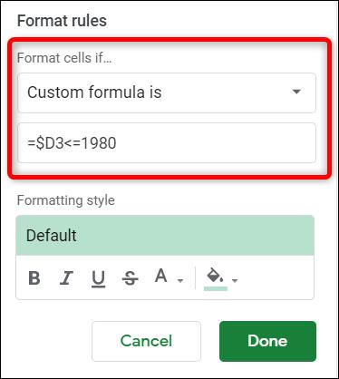 Tapez votre formule que vous souhaitez utiliser pour rechercher des données.  Assurez-vous d'utiliser le signe dollar avant la lettre de la colonne.  Cela garantit que la formule analyse uniquement la colonne spécifiée.