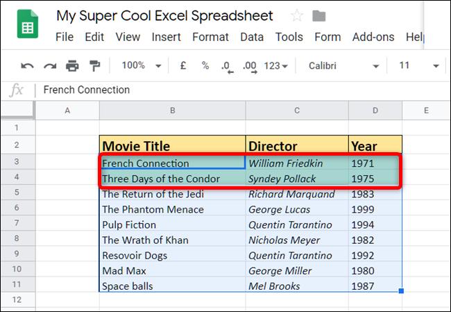 Le résultat montre que seuls les films sortis après 1980 ont été colorés avec un fond vert.