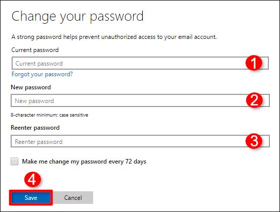 Modifier votre mot de passe Confirmer le compte Windows