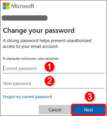 Boîte de dialogue Modifier le mot de passe Windows 10