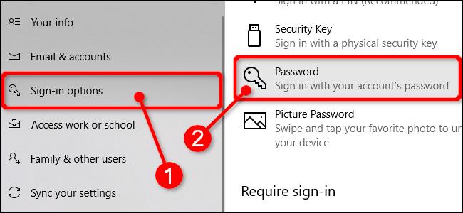 Sélectionnez les mots de passe dans les paramètres de Windows 10