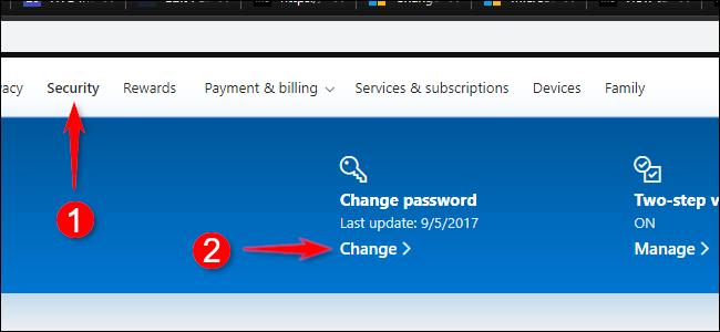 Modifier le mot de passe du compte Microsoft en ligne
