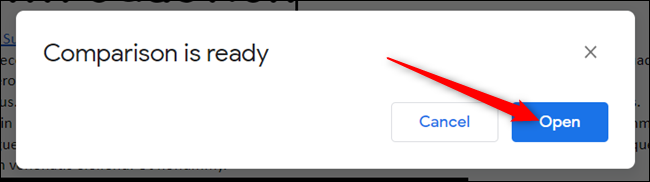 """Lorsque la comparaison est prête, cliquez sur """"ouvrir"""" pour l'ouvrir."""