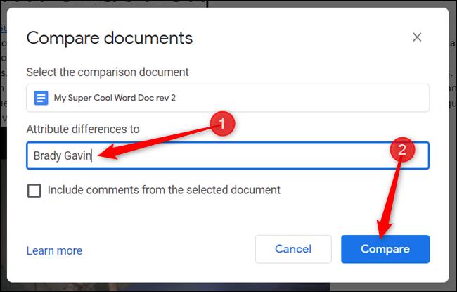 """Entrez votre nom tel que vous souhaitez qu'il apparaisse dans le fichier de comparaison et cliquez sur """"Comparer."""""""