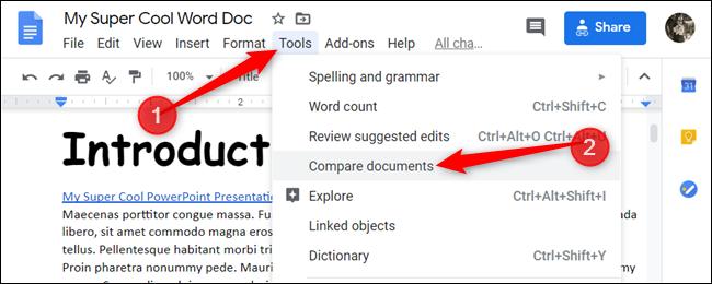 Cliquez sur Outils> Comparer des documents.» width=»650″ height=»260″ onload=»pagespeed.lazyLoadImages.loadIfVisibleAndMaybeBeacon(this);» onerror=»this.onerror=null;pagespeed.lazyLoadImages.loadIfVisibleAndMaybeBeacon(this);»/></p> <p>Une petite boîte de dialogue apparaîtra, vous permettant de sélectionner un deuxième document à comparer avec le premier.  Cliquez sur «Mon disque» pour ouvrir le sélecteur de fichiers.</p> <p><img loading=