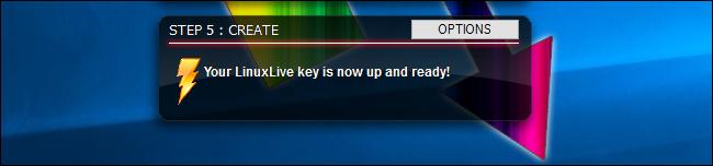 Création de l'USB Linux en direct terminée dans LiLi