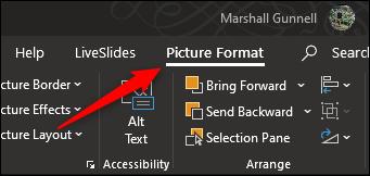 L'onglet Format de l'image dans PowerPoint.