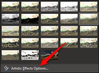 """Sélectionnez «Options d'effets artistiques."""""""