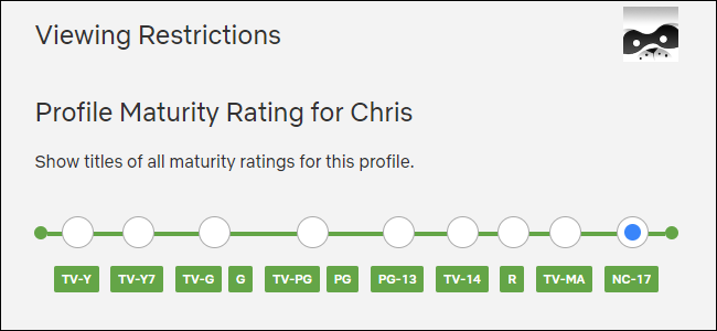 Sélection d'un niveau de maturité de profil dans Netflix