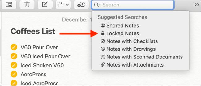 Choisissez l'option Notes verrouillées dans la recherche