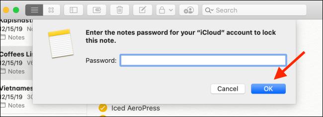 Cliquez sur le bouton OK après avoir entré le mot de passe