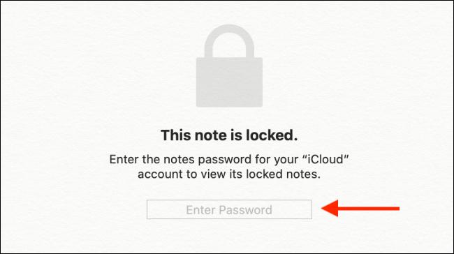 Saisissez le mot de passe Apple Notes, puis appuyez sur Entrée