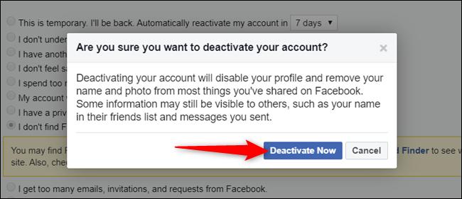 """Cliquez sur """"Désactiver maintenant"""" après avoir lu l'avertissement."""