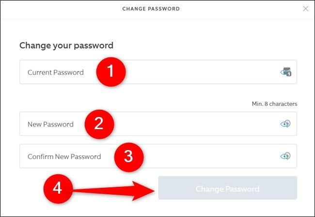 Site Web Ring Entrez l'ancien et le nouveau mot de passe, puis cliquez sur le bouton Modifier le mot de passe