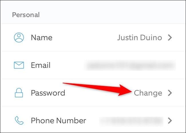 App mobile Ring Appuyez sur Modifier à côté du mot de passe