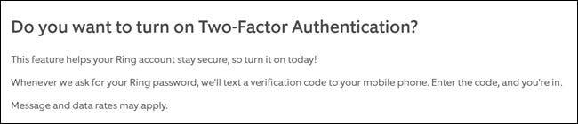 Informations d'authentification à deux facteurs du site Web Ring