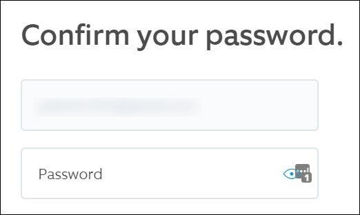 Ring Website Confirmer le nom d'utilisateur et le mot de passe.  Cliquez sur le bouton Continuer.