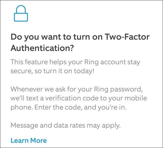 App Ring Lisez à propos de 2FA, puis cliquez sur Activer le bouton à deux facteurs