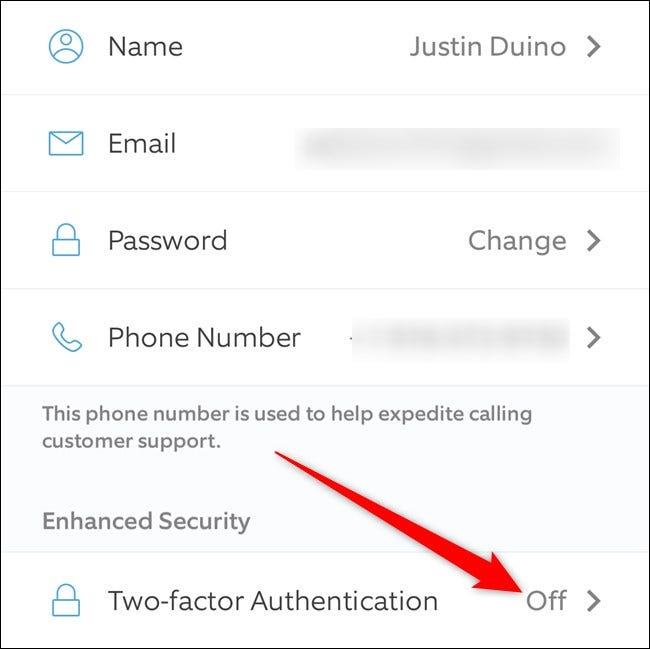 Authentification à deux facteurs de Ring App Click