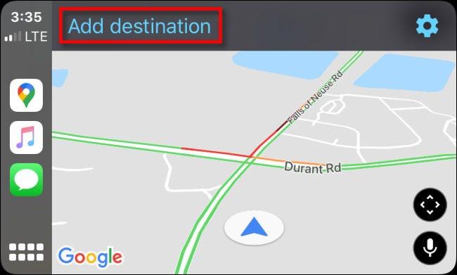 """Robinet """"Ajouter une destination"""" dans Google Maps pour CarPlay sur iPhone."""