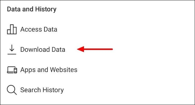 Cliquez sur le bouton de téléchargement des données dans les paramètres de l'application Instagram