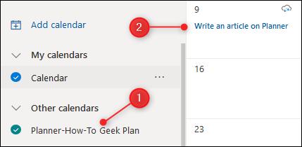 Le calendrier du planificateur affiché dans Outlook.